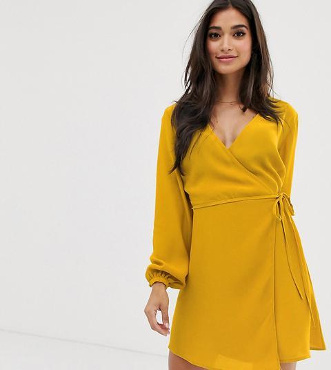 New Look Petite Long Sleeve Wrap Mini Dress In Mustard-yellow
