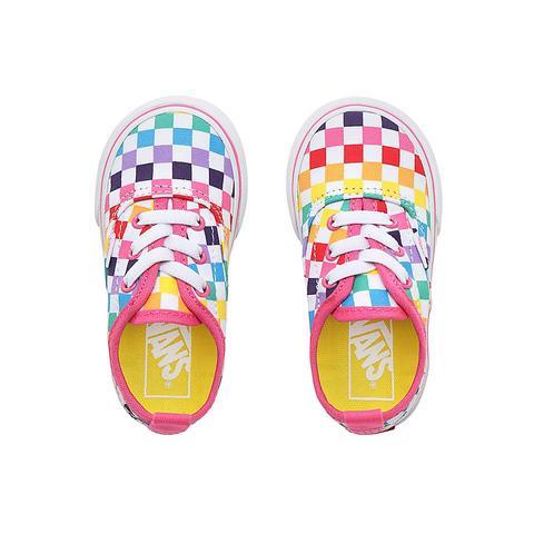 Vans Scarpe Bambino Checkerboard Authentic Con Lacci Elastici (1 4 Anni) ((checkerboard) Rainbowtrue White) Toddler Checkerboard from Vans on 21