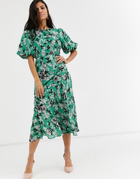 Vestido Largo Con Diseño Fruncido Y Manga Abullonada Con Estampado De Flores De Asos Design de ASOS en 21 Buttons