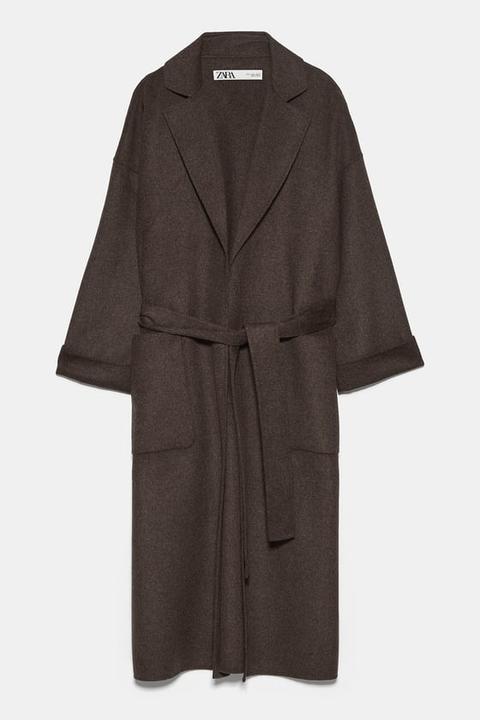 Abrigo Bolsillos Plastrón de Zara en 21 Buttons