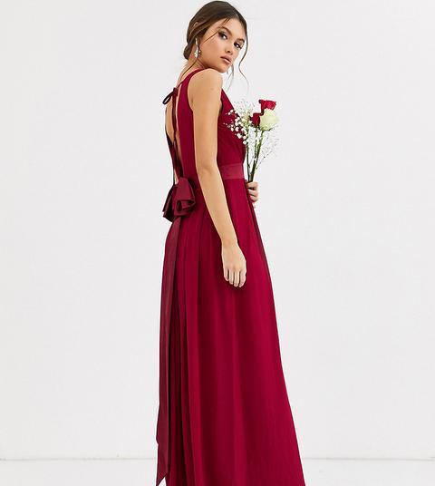 Vestido Largo De Dama De Honor Color Mora Con Lazo En La Parte Trasera De Tfnc-rojo