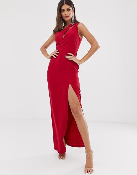 Vestido Largo Asimétrico En Rojo De Vesper de ASOS en 21 Buttons