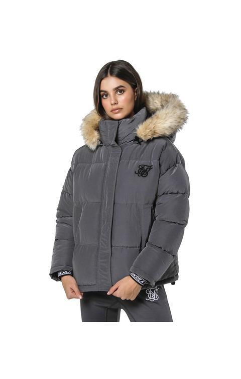 Short Parka Jacket - Charcoal de sik silk en 21 Buttons