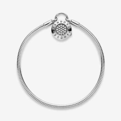 Pandora Moments Pavé Padlock Clasp Snake Chain Bracelet - Sterling Silver /  Clear from Pandora on 21 Buttons