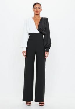 Peace + Love Pantalón De Tiro Alto Con Ribete En Negro de Missguided en 21 Buttons