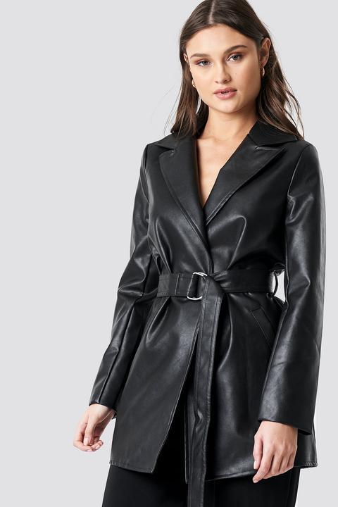 Pu Leather Belted Jacket Black de NA-KD en 21 Buttons