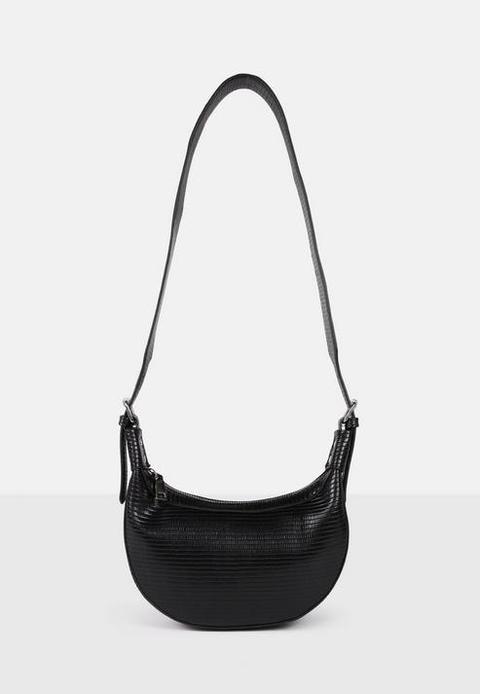 Black Snake Effect Saddle Shoulder Bag, Black