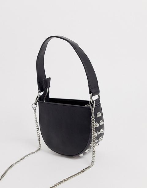 Asos Design - Micro Pochette Demi-lune Cloutée-noir