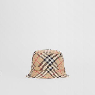 Sombrero De Pesca En Algodón A Cuadros Vintage Checks (beige) - Niños | Burberry de BURBERRY en 21 Buttons