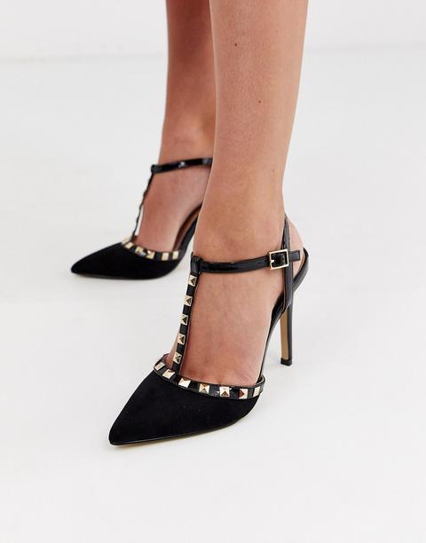 Zapatos De Salón Negros Con Tachuelas Y Tira En T De Lipsy