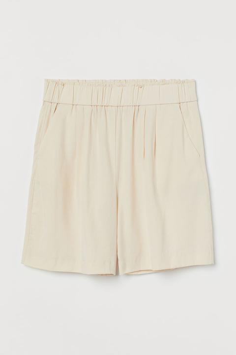 Pantalón Corto Con Lyocell - Beis