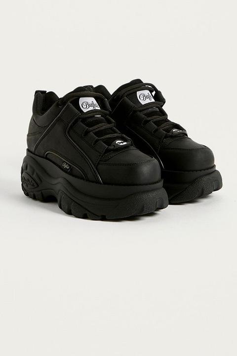 Buffalo Black Leather Chunky Platform