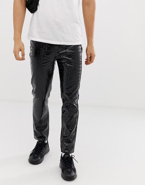 Pantalones De Poliuretano Con Estampado De Cocodrilo En Negro De Jaded London