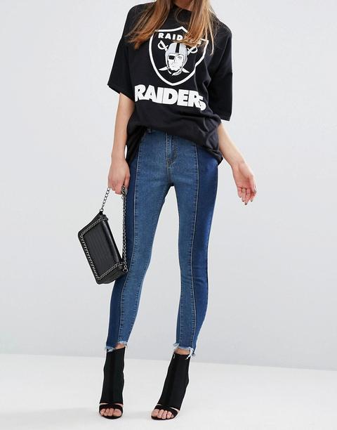 Prettylittlething Contrast Twisted Seam Skinny Jeans - Dark Wash