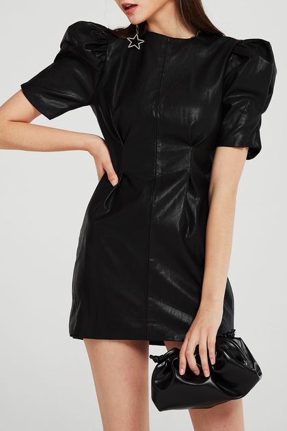 Melody Puff Sleeve Pleather Dress de Storets en 21 Buttons