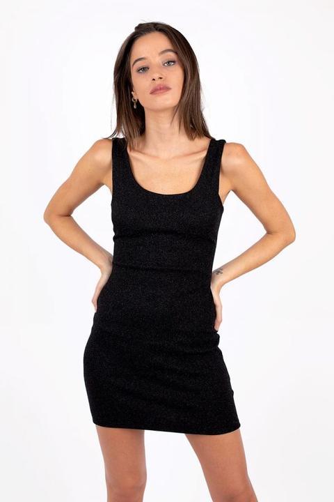 Vestido Lurex Tirante Ancho Negro
