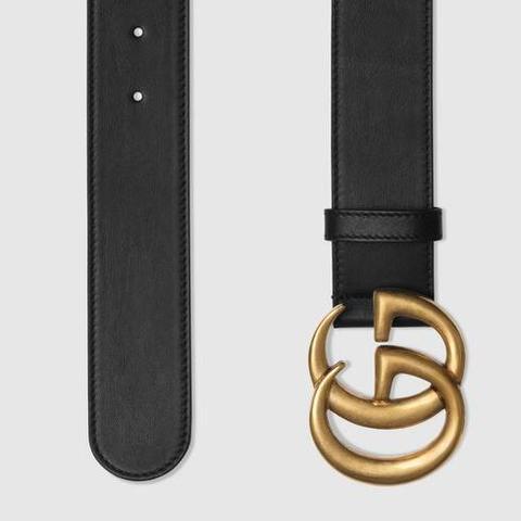 Cinturón De Piel Con Hebilla Doble G