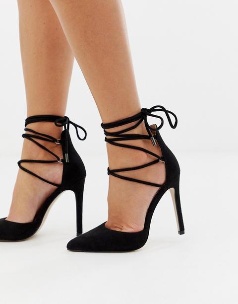 Public Desire - Chaussures À Talons Chic Avec Liens À Nouer - Noir