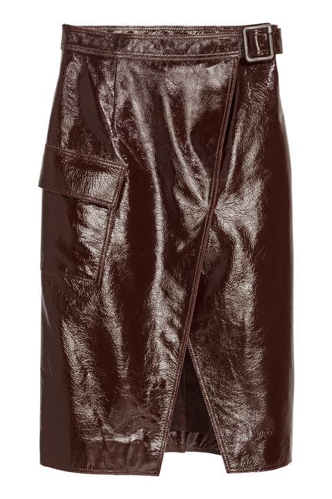 Falda En Piel Revestida - Beis de H&M en 21 Buttons