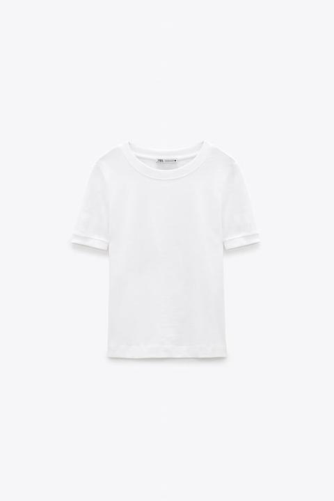 Camiseta Rib Efecto Lavado