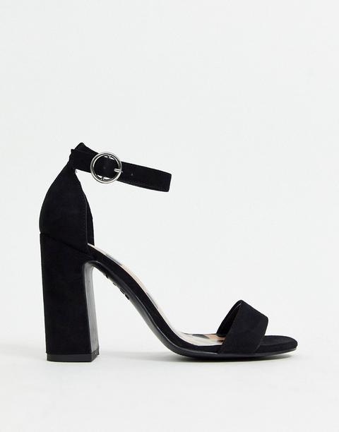 Sandalias Negras Con Tacón Grueso De New Look-negro