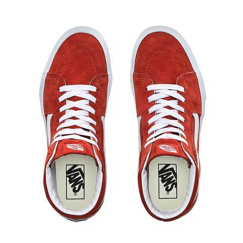 Vans Zapatillas Sk8-hi De Ante De Cerdo ((pig Suede) Burnt Brick/true White) Mujer Rojo