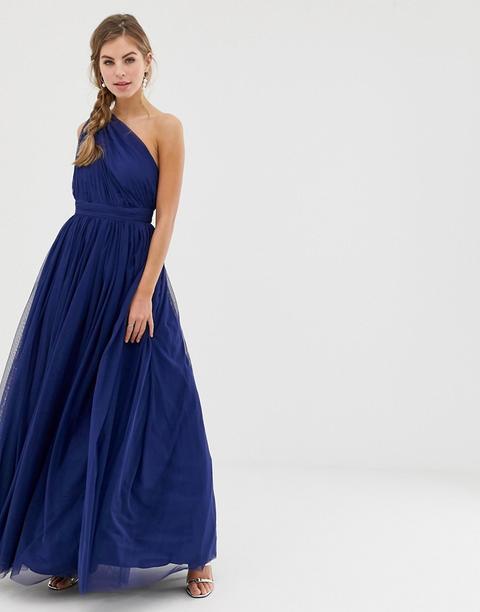 Vestido Largo Asimétrico De Tul De Asos Design-azul Marino