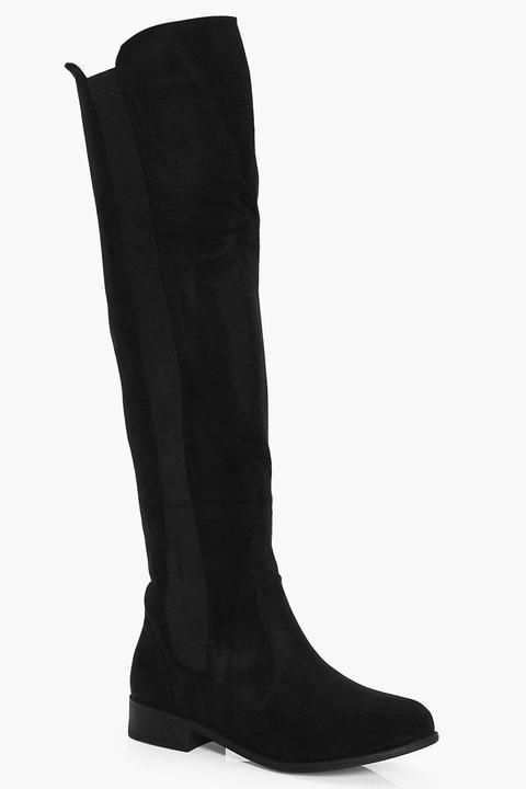Womens Flat Knee High Boots - Black - 6