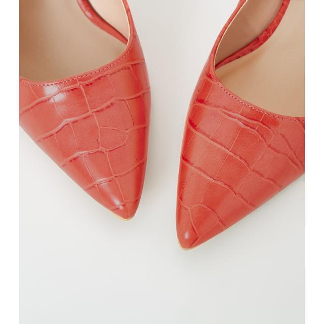 Wide Fit Red Faux Croc Kitten Heel