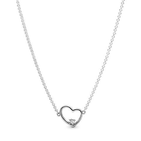 Collar En Plata De Primera Ley Corazón De Amor Asimétrico de Pandora en 21 Buttons
