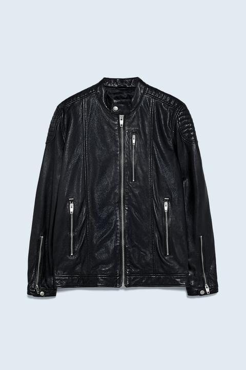 Cazadora Biker Piel de Zara en 21 Buttons