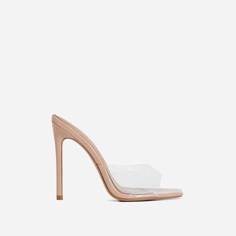 Cyan Square Toe Clear Perspex Peep Toe Heel Mule In Nude Patent, Nude