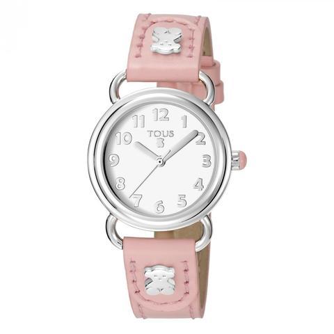 Reloj Baby Bear De Acero Con Correa De Piel Rosa de Tous en 21 Buttons