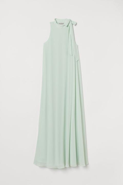 Vestido Largo Con Lazada - Verde de H&M en 21 Buttons