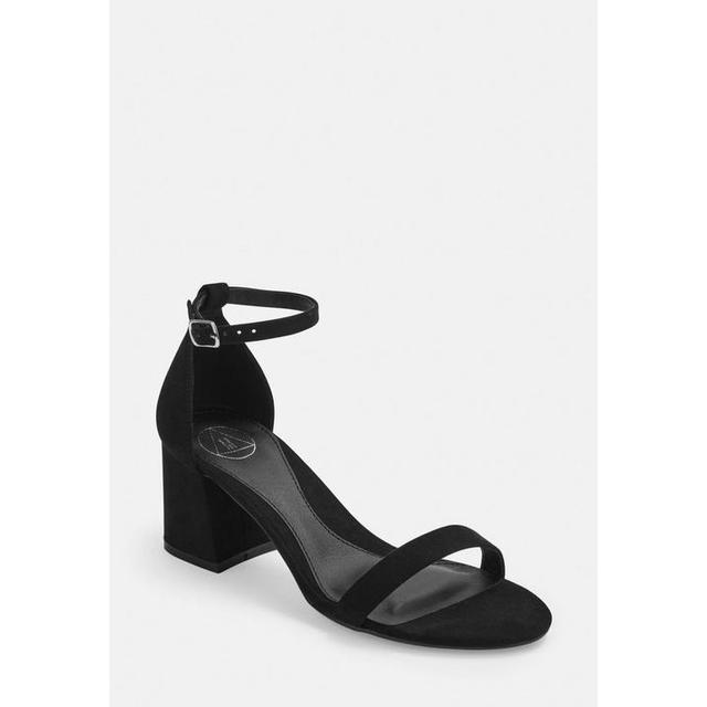 Black Wide Fit Mid Block Heel Barely