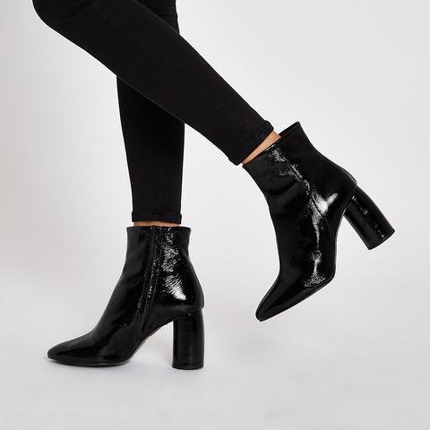 Black Shiny Leather Bubble Heel Ankle
