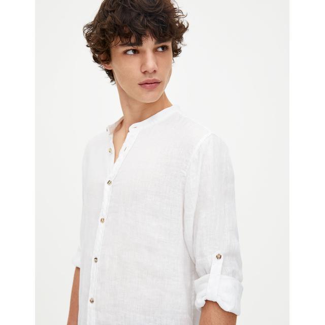 Camicia In Lino Collo Coreana from Calliope on 21 Buttons