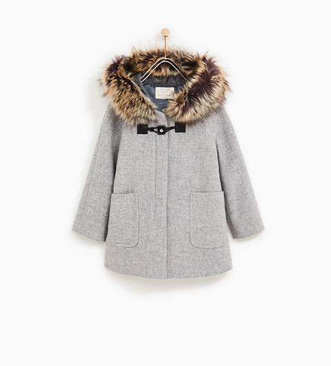 Trenka Capucha Pelo de Zara en 21 Buttons