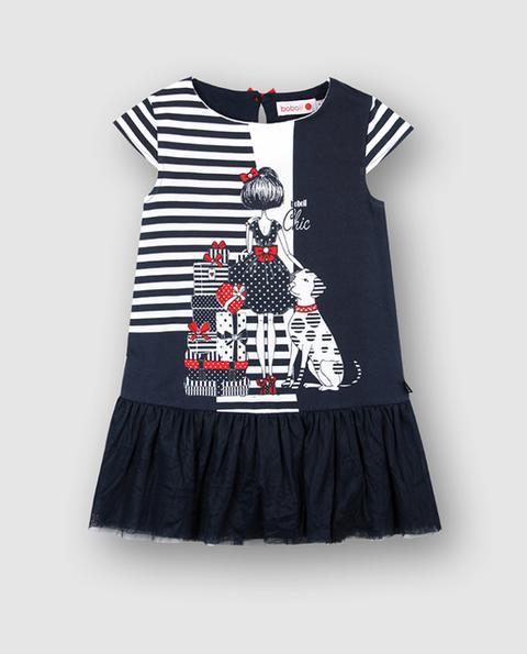 Boboli - Vestido De Niña En Azul Combinado de El Corte Ingles en 21 Buttons