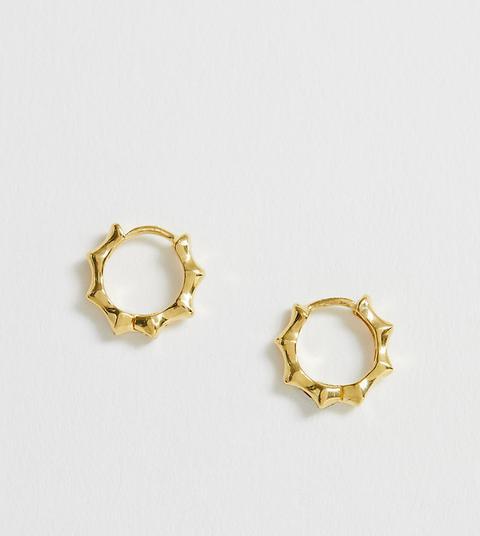 Asos Design - Boucles D'oreilles Anneau En Argent Massif Plaqué Or Style Bambou-doré