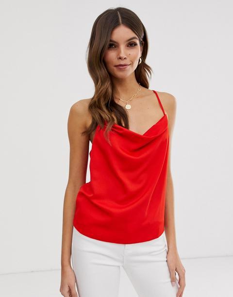 Asos Design Cowl Neck Cami In Satin - Red
