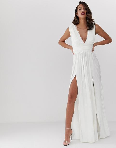 Vestido Largo Y Plisado Con Aplicación De Encaje Premium De Asos Design-blanco de ASOS en 21 Buttons