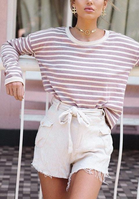 Maglietta A Righe A Collo Rotondo Manica Lunga Casuale Bianco Rosa