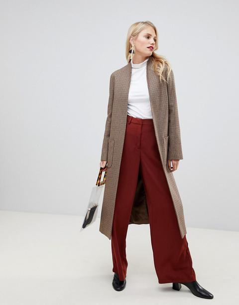 Abrigo largo con diseño a cuadros pata de gallo en mezcla de lana de Helene Berman asos el-burdeos Cuadros