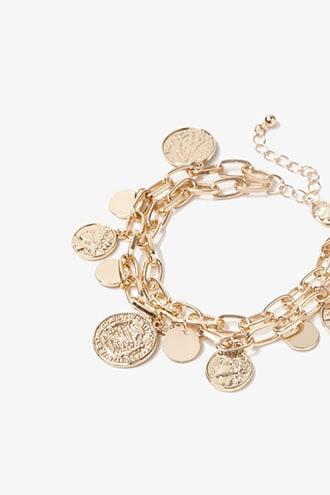 Layered Coin Pendant Bracelet Gold