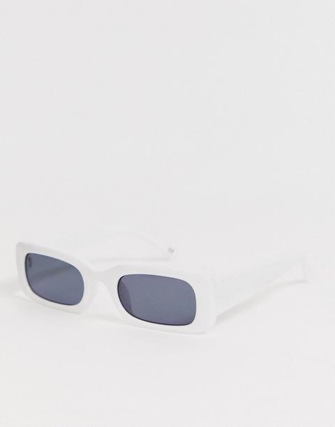 Asos Design Narrow Square Sunglasses In White