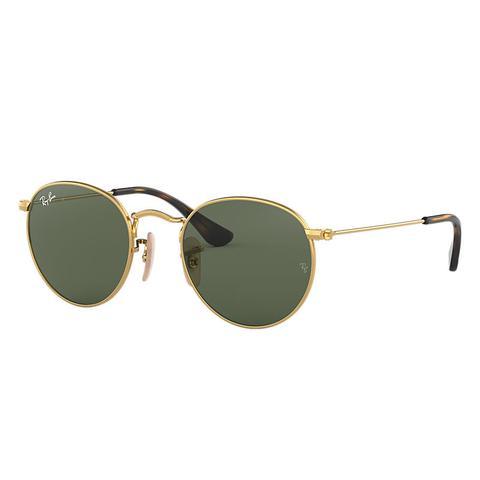 Round Metal Junior Unisex Sunglasses Lentes: Verde, Montura: Oro de Ray-Ban en 21 Buttons