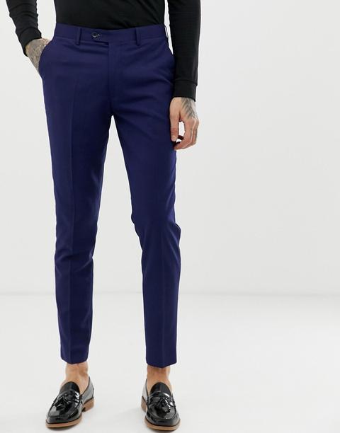 Pantalones De Traje En Mezcla De Lana En Azul Marino De Corte Slim Perfect De Gianni Feraud