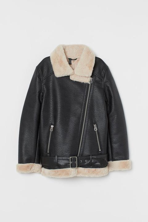 Cazadora Motera Oversize - Negro de H&M en 21 Buttons