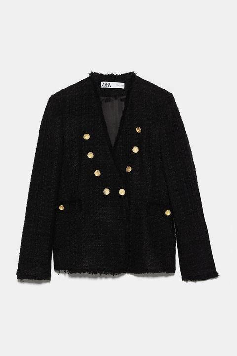 Chaqueta Tweed Botones de Zara en 21 Buttons